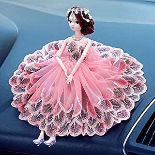 Royalfox Luxury Creative Car Beautiful Dashboard Decor Accessories Lovely Elegent Girl with Peacock Dressing for Woman Girls Interior Decoration,car Bling Accessories for Women Girl (Pink)