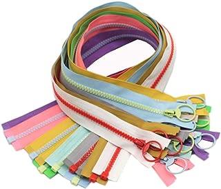 YaHoGa 10pcs 20 Inch Separating Jacket Zippers for Coat Jackets DIY Sewing Handbags Clothing Resin Zipper Plastic Zippers Bulk 10 Colors (20
