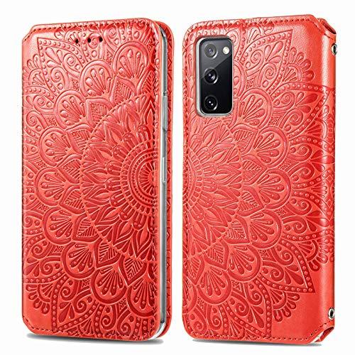 Trugox Funda Cartera para Samsung S20 FE de Piel con Tapa Tarjetero Soporte Plegable Antigolpes Flor Cover Case Carcasa Cuero para Samsung Galaxy S20 FE 5G - TRSDA140210 Rojo