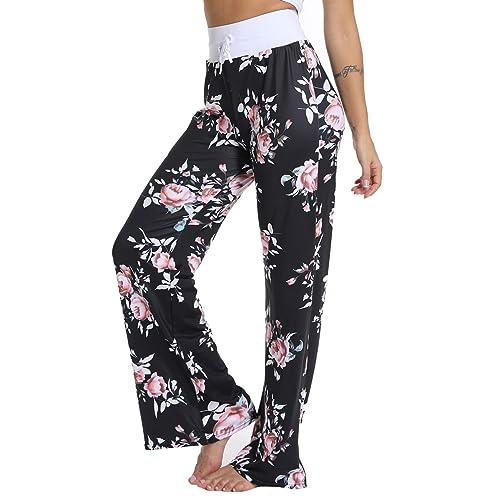 83a39d925b30d TRESXS Women  s Striped Yoga Pants Drawstring Loose Trousers High Waist  Pants for Pilates Workout