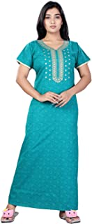 Bailey sells Printed Cotton Nighty Night Gown/Night Dress for Women Free Size Rama Green