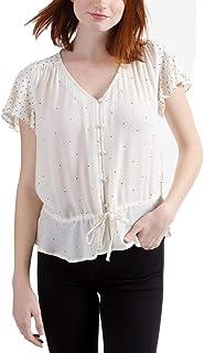 Lucky Brand Women's IT GIRL FLUTTER SLEEVE TOP Shirt
