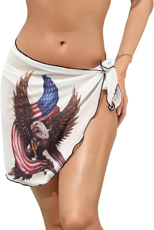 Women Beach Wrap Skirts Bald Eagle Holding American Flag Personalized Bikini Swimwear Beach Cover Up