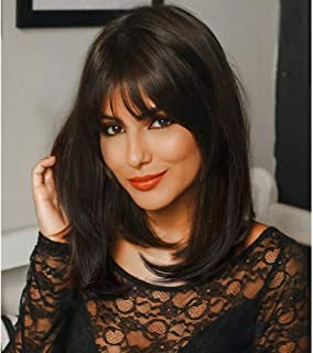AISI HAIR Straight Hair Wig with Bangs for Women 16 inch Dark Brown Shoulder Length Layered Straight Wig Natural Looking Heat Resistant Full Wig