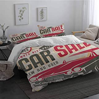 Duvet Cover Set with Zipper Closure 3 Pieces Retro Nostalgic Car Sale Sign New and Used Auto Advertising American Style Urban Life 100% Cotton Bedding Cream Grey Red Long Twin