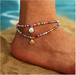 deladola Boho Layered Ankle Bracelet Gold Shell Pendant Foot Chain Colors Bead Sandbeach Multilayer Anklet Feet Accessorie...