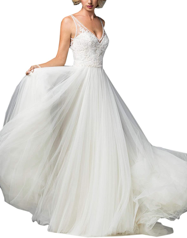 Datangep Women's Wedding Dresses VNeck Backless Straps Long Lace Bridal Dress