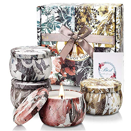 YMing Potpourri Relax Deep Sleep Scented Candles, Gardenia, Lavender, Jasmine and Vanilla, Soy Wax Portable Travel Tin Fragrance,Gifts for Women for Aromatherapy