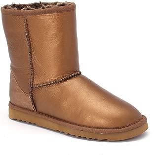 Women's Classic Short Bomber Twin-Face Sheepskin Boots