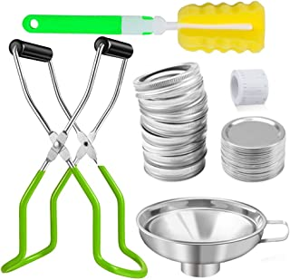 14Pcs Canning Supplies,Mason Jar Canning Lids,Canning Jar Lifter Tongs with Grip Handle Stainless Steel Canning Funnel Spo...