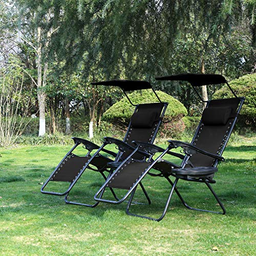 Patio Chairs Lounge Chair Zero Gravity Chair 2 Pack Recliner W/Folding Canopy...