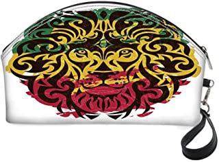 Rasta Small portable cosmetic bag,African Ethiopian Culture Wild Lion Head Grunge Style Flag Colors Decorative for Women,10.8