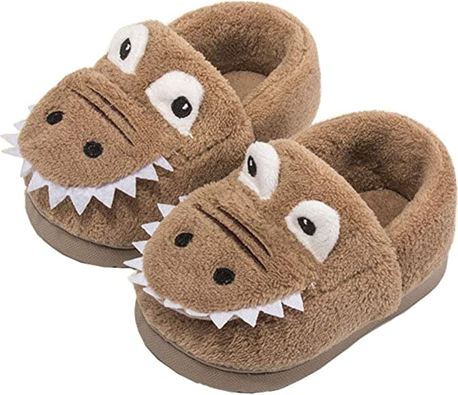 MOFEEDOUKA Girls Boys Slippers Kids Warm Dinosaur House Home Indoor Fuzzy Toddler Shoes