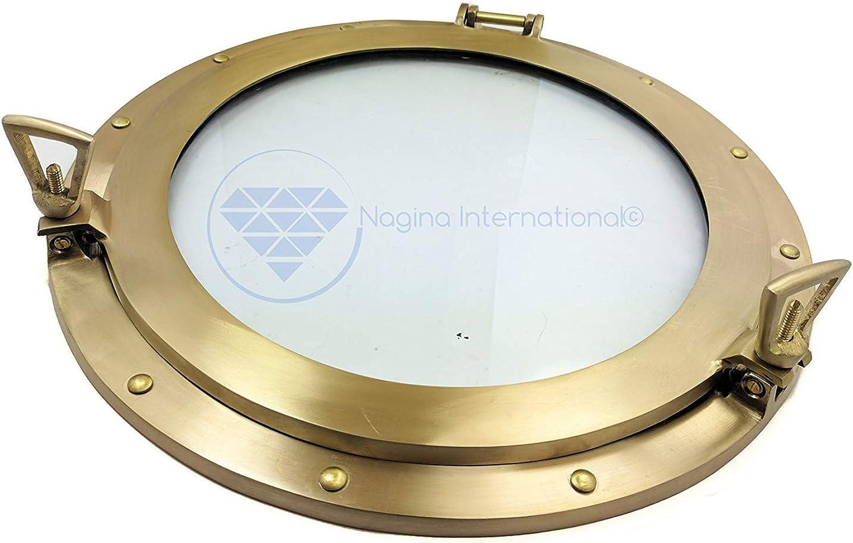 Nagina International pink gold Ornamental Decorative Premium Nautical Accentuated Brushed Solid Brass Heavy Porthole Mirror & Window   Pirate's Lavish Style Decor (Mirror, 15 Inches)
