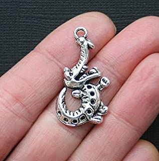 6 Alligator Charms Beads Antique Silver Tone Gator Charm for Pendant Bracelet DIY Jewelry Beads Making Kit