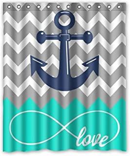 Vandarllin Love Infinity Forever Love Symbol Chevron Pattern with Nautical Anchor Turquoise Grey White Waterproof Bathroom Fabric Shower Curtain,Bathroom Decor 66