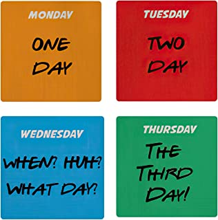 Joey's Days Friends Tv Show Ceramic Coasters (Square) for Drinks Set of 4 - Durable Heat-Resistant Cork Base Coaster Coffe...