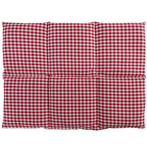Kirschkernkissen groß 40x30cm 6-Kammer - rot-weiß - z.B. Rücken, Bauch - Wärmekissen Körnerkissen für Mikrowelle und Backofen