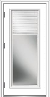 National Door Company ZZ364935R Smooth, Primed, Right Hand Outswing, Prehung Door, Full Lite, Clear Low-E Glass, Internal Blinds, 32