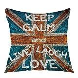 Funda de cojín cuadrada con diseño de bandera británica «Keep Calm and Live Laugh Love» de Reino Unido, para sofá, dormitorio, decoración de 45,7 x 45,7 cm, azul, rojo y blanco