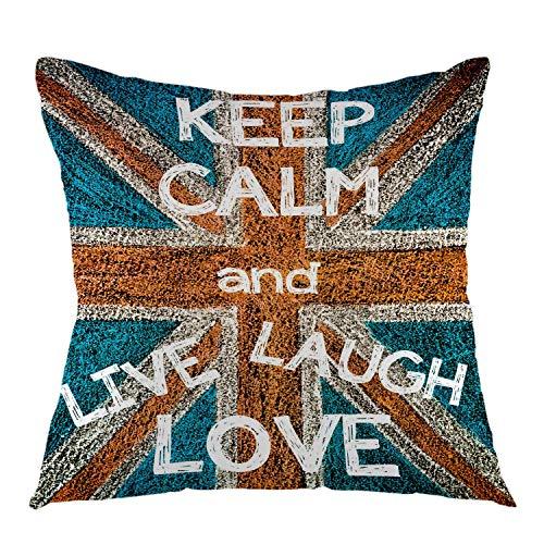 Mantieni la calma e vivi la risata Amore Regno Unito Bandiera britannica Fodera per cuscino da tiro vintage Fodera per cuscino quadrata per divano divano Camera da letto Decorazione dormitorio 45x45 cm (18 pollici) Blu Rosso Bianco