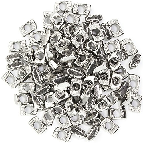 Sutemribor 2020 Series 100 Pcs M5 T-Nuts,Carbon Steel Nickel-Plated Half Round Roll in Sliding T Slot Nut 6mm Slot Aluminum Profile Accessories (M5)