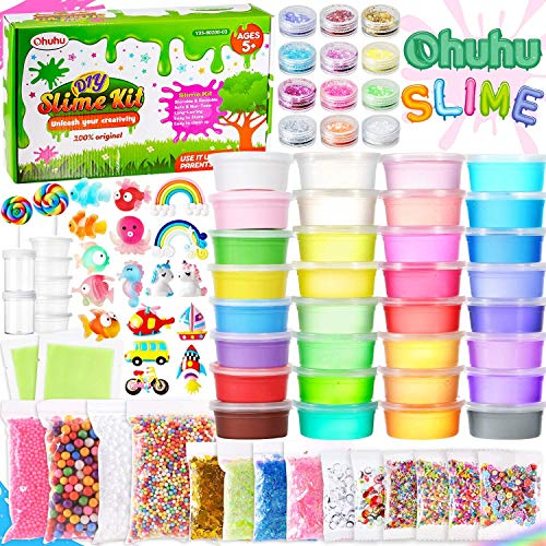 Ohuhu DIY Slime kit Kristall Schleim für Kinder, 86 Pcs Schleim Machen Kit mit 24 Kristall Schleim, 8 leichte Tone, Schaum Bälle, Schleim Selber Machen für Kinder Geschenke mädchen