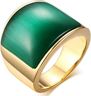 YABINI Men's Vintage Stainless Steel Band Rings Large Created Gemstone Hip-hop Jewelry Statement Rings