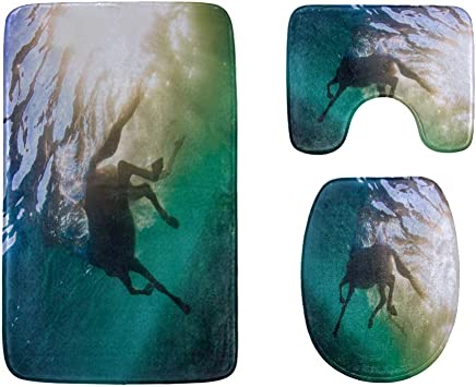 Horse Runs Gallop On The Meadow Bathroom Rug Mats Set 3-Piece,Soft Shower Bath Rugs,Contour Mat and Toilet Seat Lid Cover Non-Slip Machine Washable Flannel Toilet Rugs