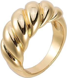 خاتم على شكل قبة كرواسون مطلي بالذهب عيار 18 قيراط من أوريليا ماي خواتم ذهبية مكتنزة.