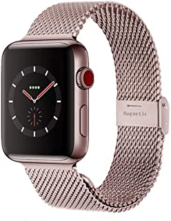 Compatible with Apple Watch Band 38MM 40MM 42MM 44MM, Stainless Steel Milanese Loop Band with Adjustable Magnetic Clasp for 2019 Watch Series 5/4/3/2/1,Rose Gold 40mm/38mm