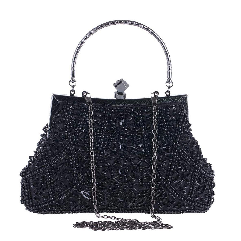 AIJUN Womne's Vintage Clutch Purse Cocktail Wedding Party Evening Handbag Sequin Moonlight Flower Bead Embroidery Package Evening Bag (Black)