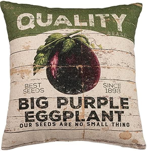 原始人由凯西亚麻混纺茄子复古抱枕 16X18 英寸