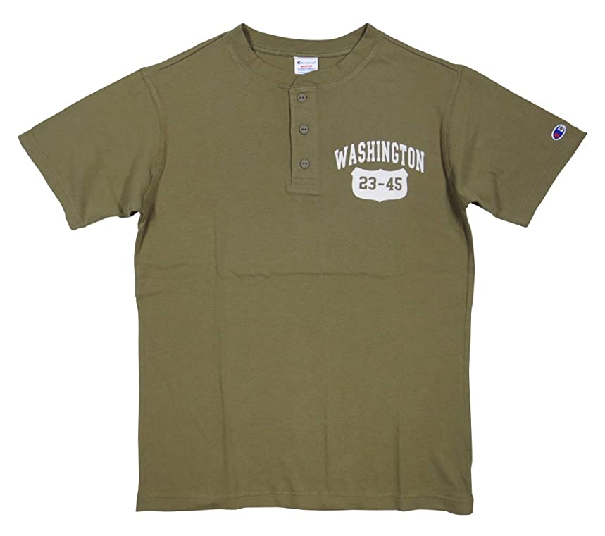 唇値下げ旋回(チャンピオン) Champion トリコロールタグ カレッジプリント 半袖 ヘンリーネック Tシャツ