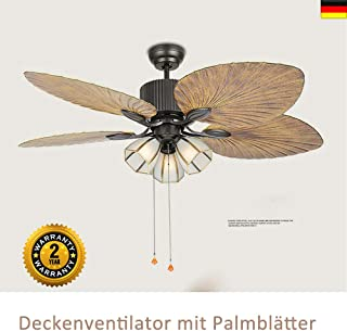 Lámpara de techo con ventilador de hojas de palma con iluminación y mando a distancia silencioso/iluminación interior/lámpara de salón/dormitorio/cocina, casquillo E27/3 portalámparas