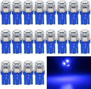 EverBright 20-Pack 194 Led Bulb Blue, T10 168 912 W5W 2825 LED Bulb for Car Interior Lights Dome Map Light Trunk Door Light Dashboard Bulb License Plate Light Lamp, 5050Chips 5SMD, DC 12V