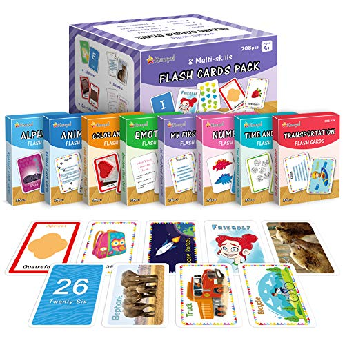 Flash Cards for Toddlers Age 2-4 Years Old, Kindergarten, Preschool - Set of 208 Flashcards Inclu Alphabets, Numbers, First Sight Words, Colors & Shapes, Animals, Emotions, Transport, Time & Money
