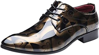 Wealsex Formal Shoes Mens Dress, Patent Leather Pointed Toe Lace Up Floral Derby Oxford Wedding Business Office Shoes 4-13 UK