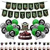 32 Piezas Yoda Decoración Cumpleaños - Miotlsy Suministros Fiesta Star Wars, Suministros para Fiesta cumpleaños Baby Yoda, Decoración Cumpleaños Star Wars Globos para Decoración Baby Shower