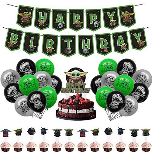 32Piece Party Dekorationen Supplies - Miotllsy Yoda Geburtstag Party Dekoration, Geburtstag Party Dekoration Banner, für Partys und Geburtstage Ideal,um Ihre Partys Zu Schmücken