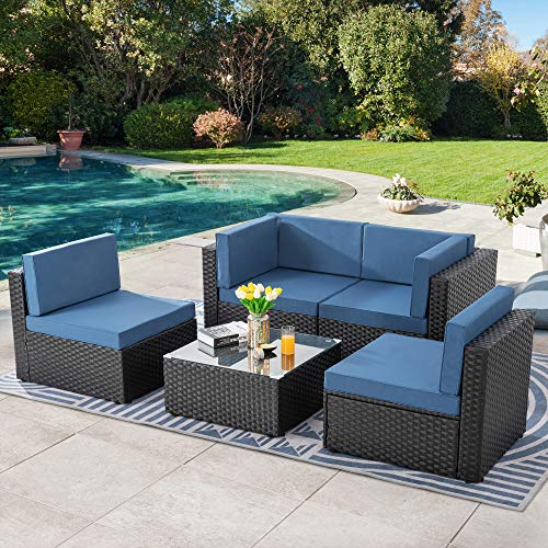 SUNLEI 5pcs Patio Conversation Set Outdoor Furniture Sets,Low Back All-Weather Rattan Sectional Sofa with Tea Table&Washable Couch Cushions&Ottoman(Black Rattan)(Aegean Blue)