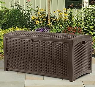 Suncast DBW7300 EMW7509888 73 Gallon Resin Wicker Patio Storage Box-Waterproof Outdoor, Mocha Brown