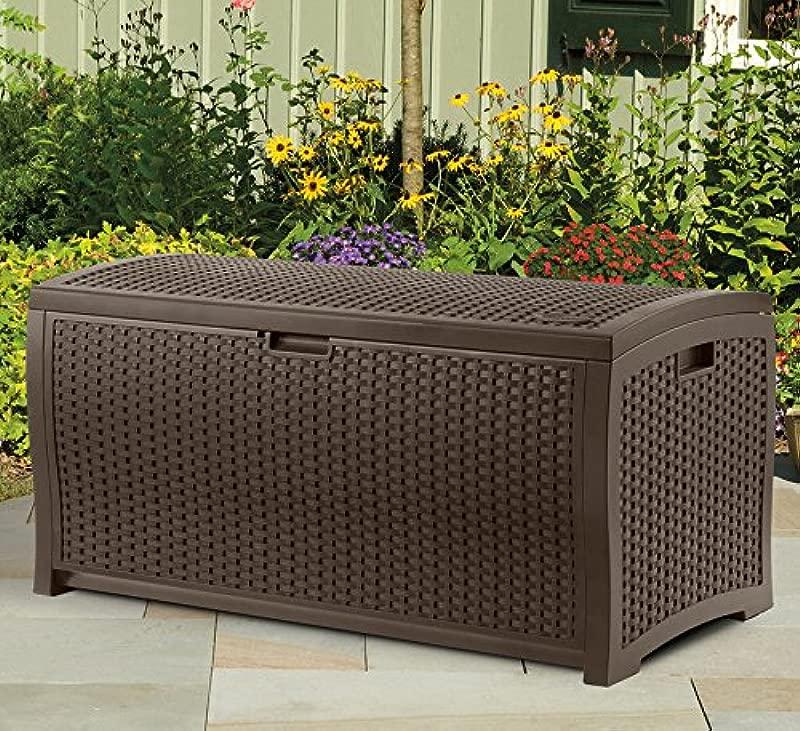 Suncast DBW7300 TRV131704 73 Gallon Resin Wicker Patio Storage Box Waterproof Outdoor Mocha Brown