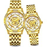 BINLUN His and Hers 18K Gold Ion-Plated Stainless Steel Couple Dress Watch 50 Meter Waterproof Lover Gift Father's Day (Couple)