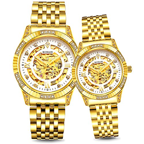 BINLUN Herren Uhren Analog Automatik mit 18k Vergoldet Edelstahl Armband Skelett (Men - Gold)