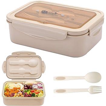 Fambrera Infantil BESTZY Lunch Box Bento Box Sostenible para Niños Caja de Bento con 3 Compartimentos y Cubiertos para Almuerzo y Bocadillos para Niños y Adultos: Amazon.es: Hogar