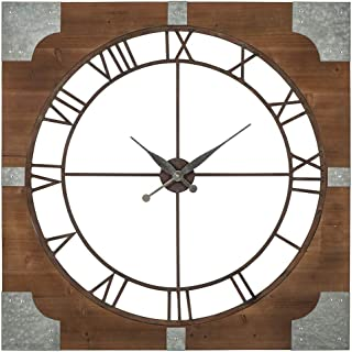 Ashley Furniture Signature Design - Palila Industrial Wall Clock - Casual - Brown/Silver Finish