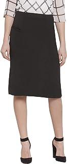 Martini Women Black Formal Front Pocket Midi Skirt