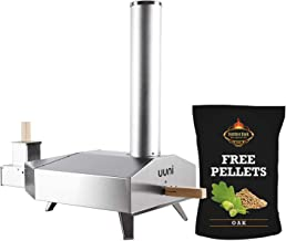 Ooni Uuni 3 BBQ Pellet Fired Pizza Oven, Stone, Pellet with 5# Free BBQ Pellets
