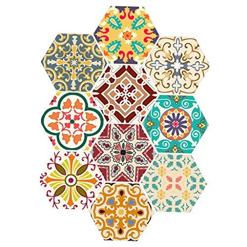 10 stk. Vintage Hexagon Fliesen Aufkleber, Deko Fliesenfolie Fliesensticker für Bad Küche - # 9